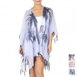 Wholesale J12A Palm tree print ruana w/ fringes