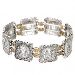 Wholesale L23B Four petal flower & triangles metal stretch bracelet SV