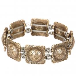 Wholesale L23B Four petal flower & triangles metal stretch bracelet GB