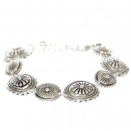 Wholesale L23B Flower carved circles metal bracelet SV