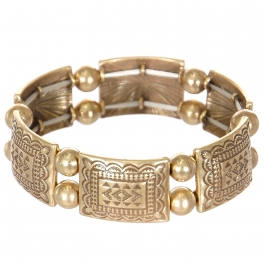 Wholesale L23C Tribal rectangle & sphere metal stretch bracelet GB
