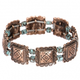 Wholesale L23C Diamonds & triangles metal stretch bracelet CB