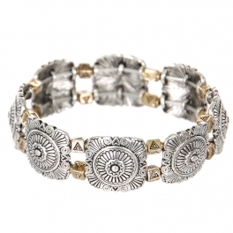 Wholesale L23B Flower & triangles metal stretch bracelet SV