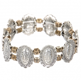 Wholesale L23C Oval flower & triangles metal stretch bracelet SV