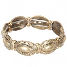 Wholesale L23E Carved oval metal stretch bracelet GB