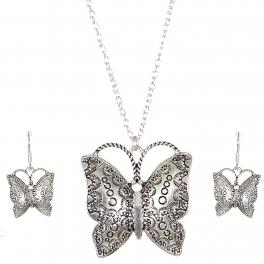 Wholesale M03A Carved butterfly pendant necklace set SV