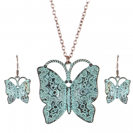 Wholesale M03A Carved butterfly pendant necklace set OG