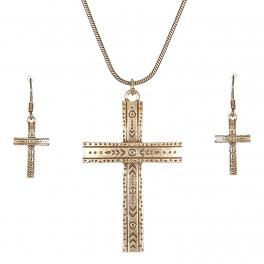 Wholesale L28C Carved cross pendant necklace set GB