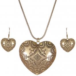 Wholesale L28A Carved heart pendant necklace set GB