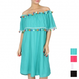 Wholesale G45B Off the shoulder dress w/ colorful tassels