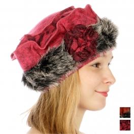 wholesale F04 Wool pillbox hat rosette fur brim Fuchsia