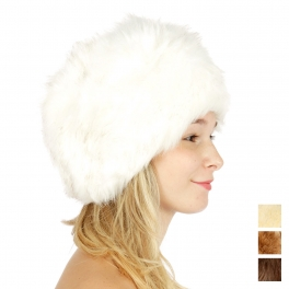 Wholesale T20 Faux fur head warmer White fashionunic