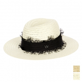 Wholesale V30 Wide Band Woven Paper Fedora Hat Beige