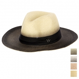Wholesale V34 Ribbon Trim Straw Fedora Hat Khaki