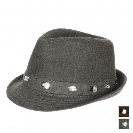 wholesale V76 Jeweled trim fedora hat Chocolate Brown