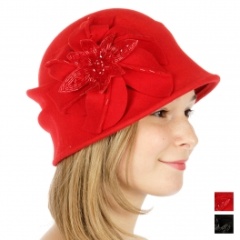 Wholesale V54 Embellished flower cloche hat Black