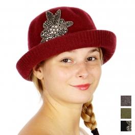 Wholesale W02C Up Brim Wool Hat w/ Beaded Trim BK