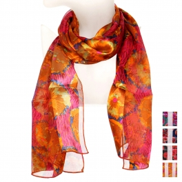 Wholesale WA00 Abstract floral print satin scarf