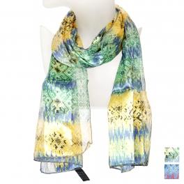 Wholesale O43B Soft ikat pattern satin scarf