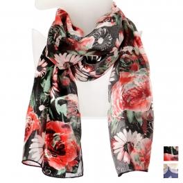 Wholesale O42B Daisy print satin scarf
