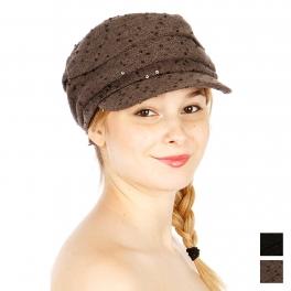 Wholesale U59 Casual Sequins Hat Black