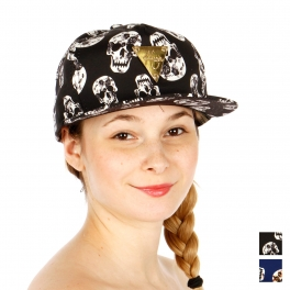 Wholesale R56A Skull Pattern Hater Hat BLK