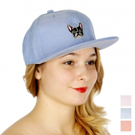 Wholesale V68B Boston terrier embroidered snapback BL