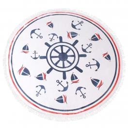 Wholesale WA00 Nautical wheel round beach blanket/yoga mat WHITE