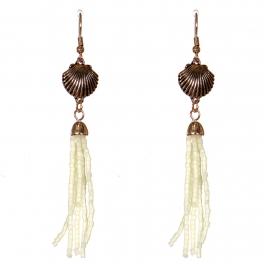 Wholesale WA00 Seashell & beads tassel earrings IV
