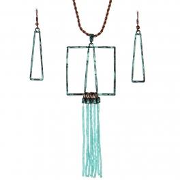 Wholesale WA00 Geometry & tassels necklace set TQ