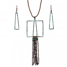 Wholesale WA00 Geometry & tassels necklace set MOT