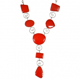 Wholesale WA00 Handemade geometric stone necklace Red