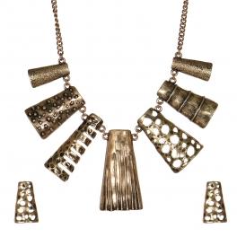 Wholesale WA00 Multi texture metal bib necklace set GB