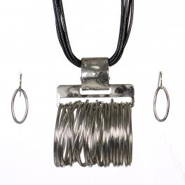 Wholesale WA00 Oval rings pendant steatment necklace set RBK