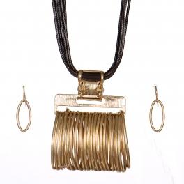 Wholesale WA00 Oval rings pendant steatment necklace set VGBR