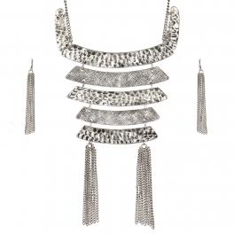 Wholesale WA00 Chain statement tassel metal bib necklace set SB
