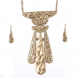 Wholesale WA00 Textured metal pendant statement necklace set WG