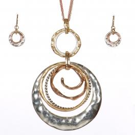Wholesale WA00 Multi texture rings pendant necklace set TRI