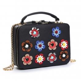 Wholesale S28A Floral detail crossbody bag Black
