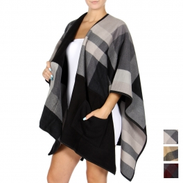 Wholesale R85D Plaid-print poncho