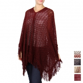 Wholesale R73B Fringed knit poncho