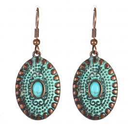 Wholesale M21C Textured oval drop earrings OG