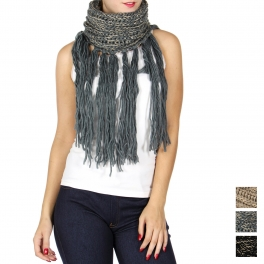 Wholesale Q63A Metallic long tassel infinity scarf
