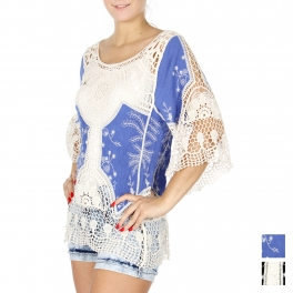 Wholesale H41A Floral crochet insert embroidery top BLACK