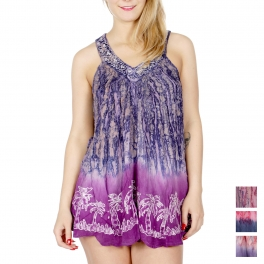 Wholesale H19A Tie dye & palm tree V-neck batik tunic NV/PP