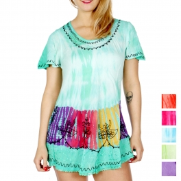 Wholesale H20B Indian flower tie dye short sleeve batik tunic Mint