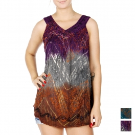 Wholesale J03A Multi tone vine print sleeveless batik top w/ spangles PLUS SIZE PURPLE