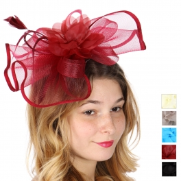 Wholesale V26D Feather and ruffled flower fascinator