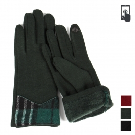 Wholesale Q21C Check trim touch screen gloves