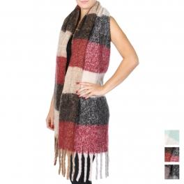 Wholesale T63 Brushed fringe color-block oversized scarf